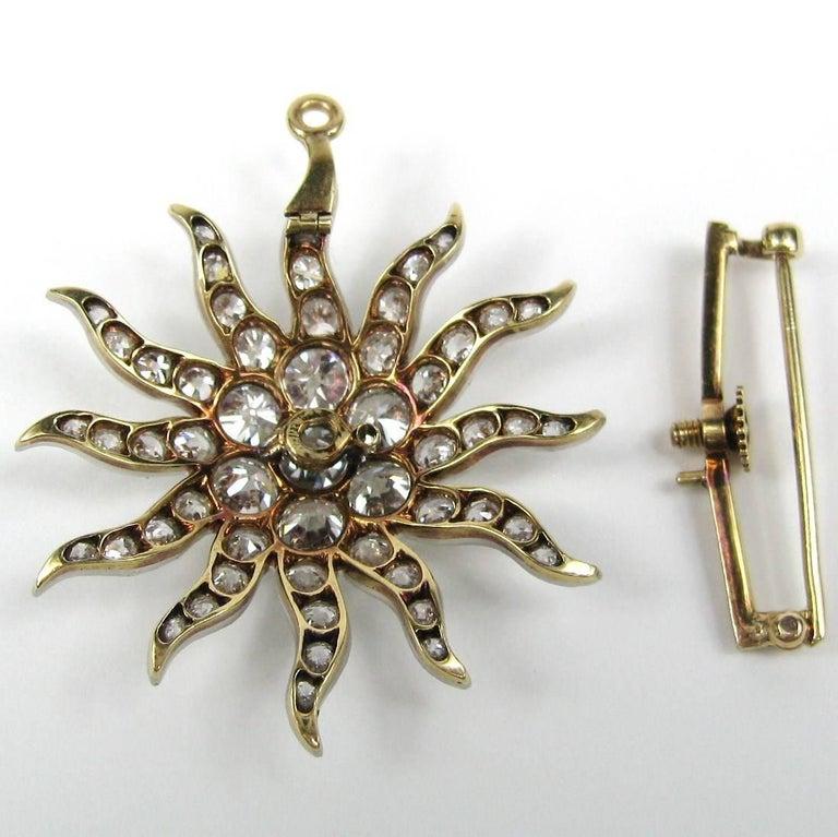 Antique Gold Platinum 8.68 Carat Diamond Convertible Pendant / Brooch For Sale 3