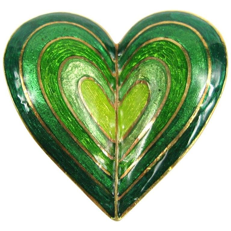 Tiffany & Co. Green Ombre Enamel Gold Brooch Pendant