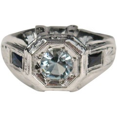1920s Art Deco White Gold Aquamarine and Sapphire Engagement Ring