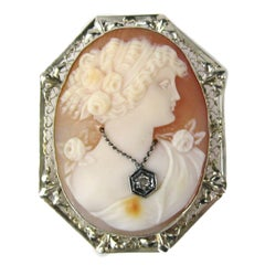 Antique Victorian White Gold Cameo and Diamond Shell Brooch Pendant