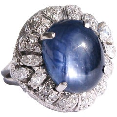 Blue Cabochon Star Sapphire Diamond Platinum Cocktail Ring