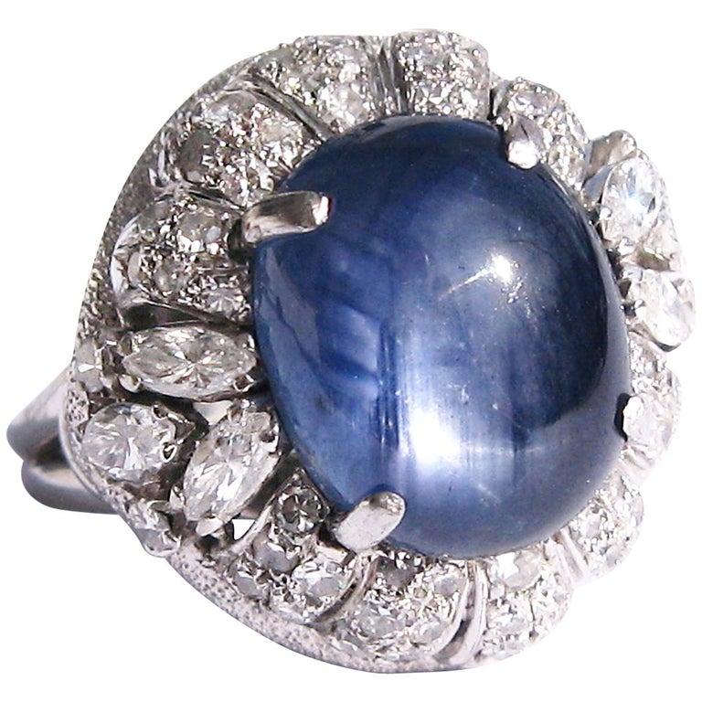 Blue Cabochon Star Sapphire Diamond Platinum Cocktail Ring