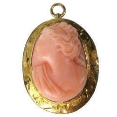 Antique Pink Coral Gold Cameo Pendant Brooch