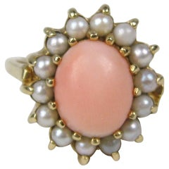 1960s Angel Coral Pearl 14 Karat Gold Cocktail Ring