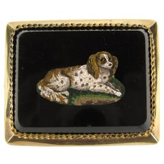 Antique Micro Mosaic 15 Karat Gold King Charles Spaniel Pendant Brooch
