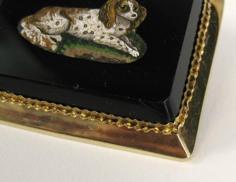 Wonderful Micro-Mosaic Brooch and Pendant, Depicting a King Charles Spaniel  Does double duty, truly a wonderful piece. Antique C style pin back  Set in 15kt Yellow Gold  Measuring 1.83 in wide x 1.45 in top to bottom  Any questions please call,