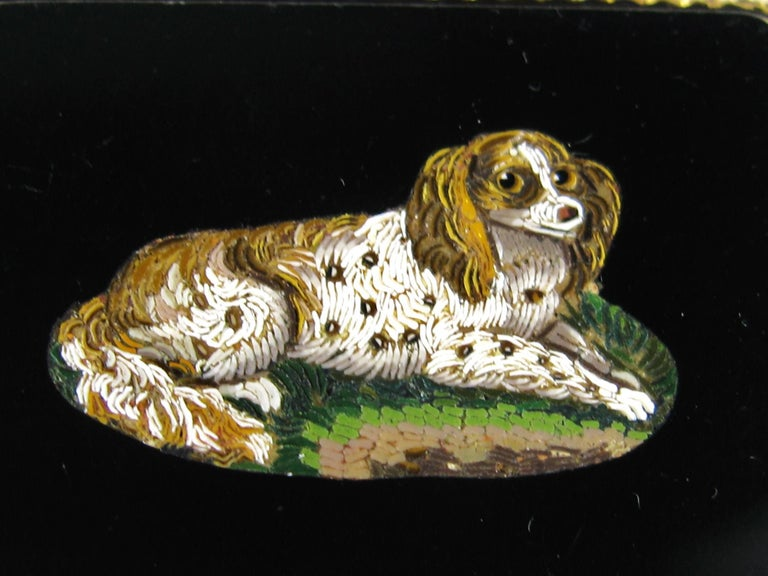 Antique Micro Mosaic 15 Karat Gold King Charles Spaniel Pendant Brooch In Excellent Condition For Sale In Wallkill, NY