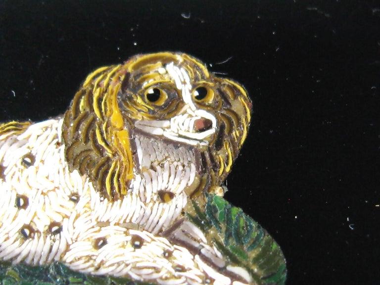 Women's Antique Micro Mosaic 15 Karat Gold King Charles Spaniel Pendant Brooch For Sale