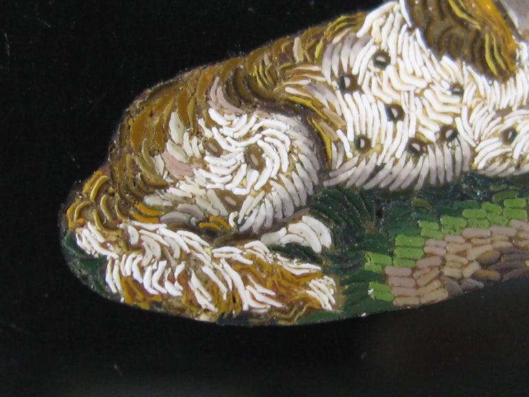 Antique Micro Mosaic 15 Karat Gold King Charles Spaniel Pendant Brooch For Sale 1
