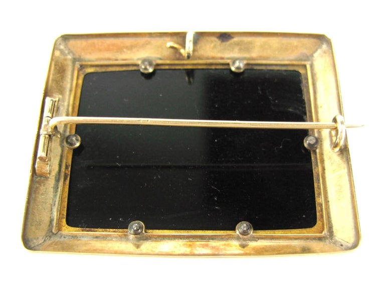 Antique Micro Mosaic 15 Karat Gold King Charles Spaniel Pendant Brooch For Sale 2