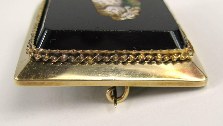Antique Micro Mosaic 15 Karat Gold King Charles Spaniel Pendant Brooch For Sale 5