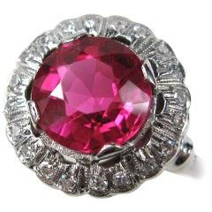 1930s Red Pate De Verre Diamond Ring