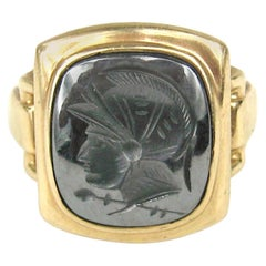 1930s Hematite Gold Intaglio Warrior Ring