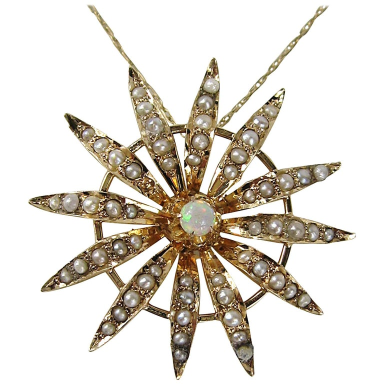 Antique Sunburst Seed Pearl Opal Gold Lavalier Necklace
