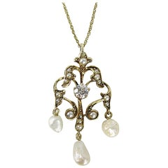 Antique Gold Victorian Lavalier Diamond and Pearl Necklace