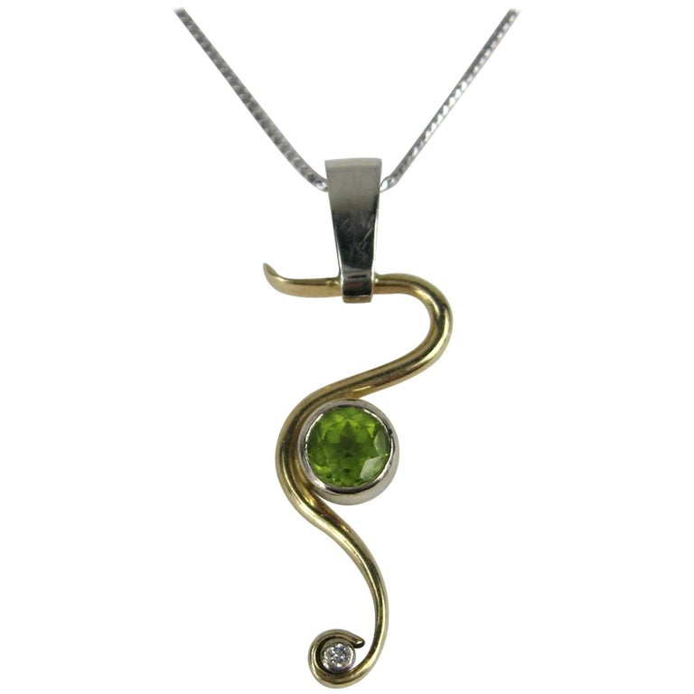 Stunning Peridot Diamond Gold Snake Pendant Necklace