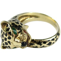 Stunning Enamel Gold Leopard Head Wrap Ring
