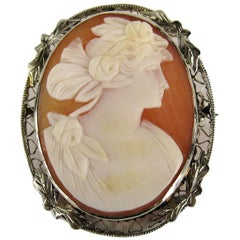 Antique Cameo 14 Karat Gold Brooch Pendant