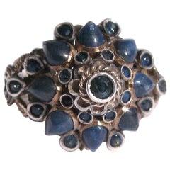 Natural Cabochon Sapphire Gold Thai Princess Ring