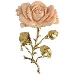 1960s Pink Coral 14 Karat Gold Diamond Rose Brooch Pin