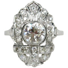 1920s Art Deco Filigree Diamond Platinum Ring 1.78 Carat