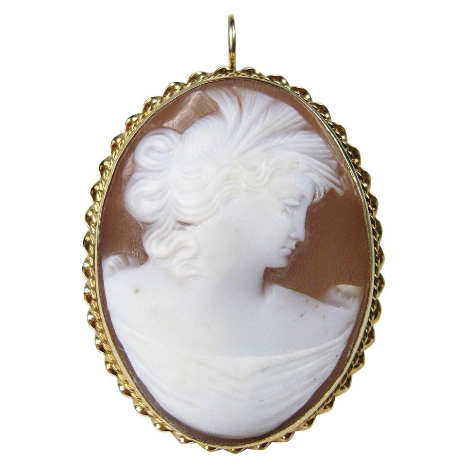 14 Karat Gold Cameo Victorian Lady Pendant Brooch