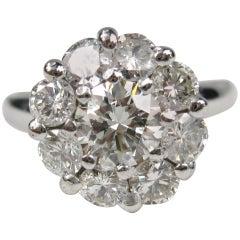 1940s Diamond Cluster White 14 Karat Gold Ring