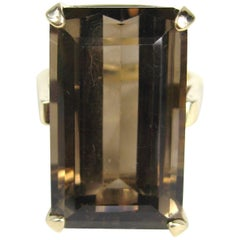 1960s 25 Carat Smokey Quartz Emerald Cut 14 Karat Gold Ring