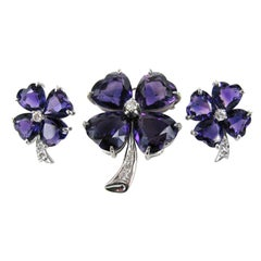 Amethyst Diamond Platinum Clover Parure Brooch and Earrings, 1960s