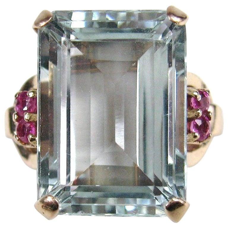 cccd8c3b657a61 Stunning GIA Certified 16.25 Carat Emerald Cut Aquamarine Ruby 14K Gold Ring  For Sale
