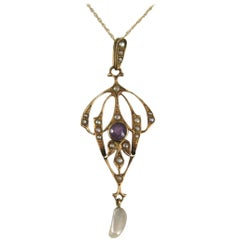 1860s Gold Victorian Lavalier Seed Pearl Amethyst Necklace