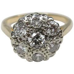 1940er Jahre Cluster 14 Karat Gold Diamant Verlobungsring