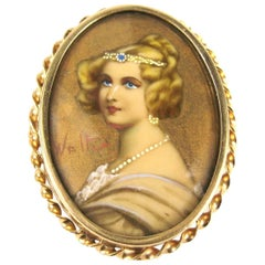 Antique 14 Karat Gold Hand Painted Portrait Brooch Pin Pendant