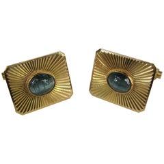1950s Blue Star Sapphire Gold Cufflinks