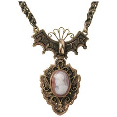 Antique Victorian Rose Gold Greek Male Warrior Cameo Necklace