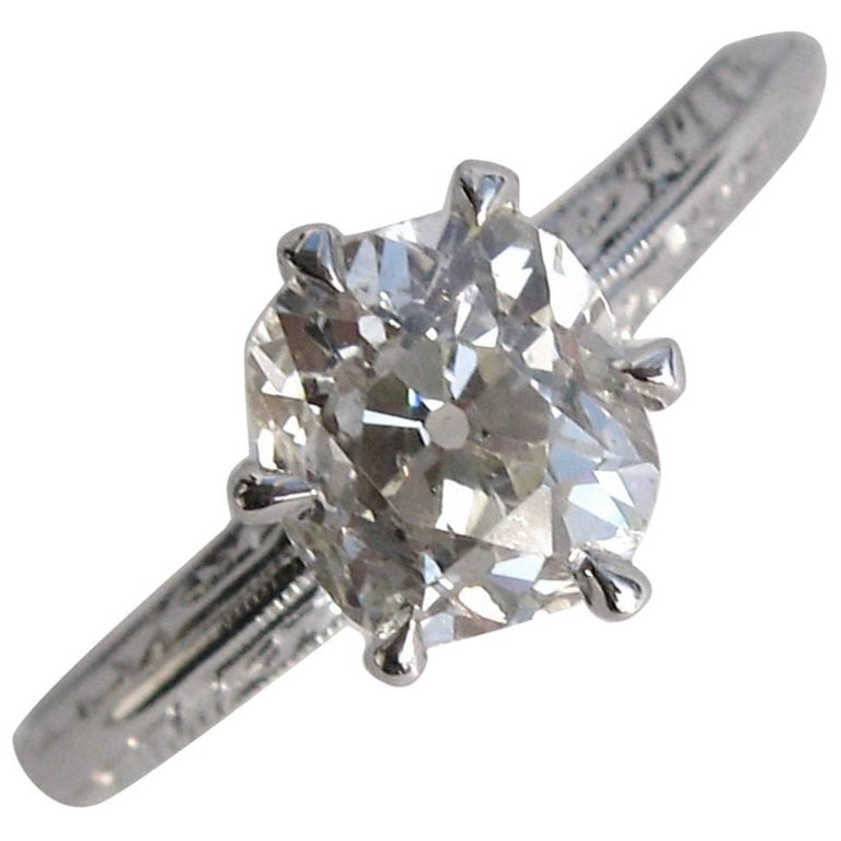 Antique 1930s Cushion Cut Diamond Gold Engagement Ring For Sale