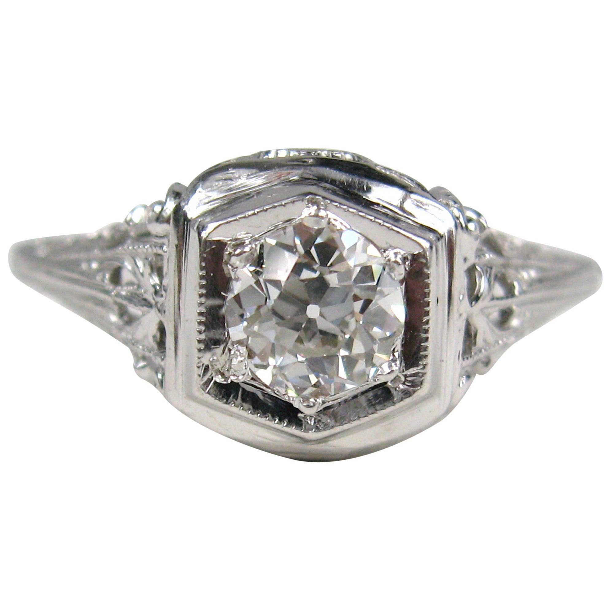 1920s White 14 Karat Gold Art Deco Engagement Diamond Ring