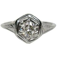 14 Karat Gold Diamond Engagement 14 Karat Ring-Art Deco 1930s