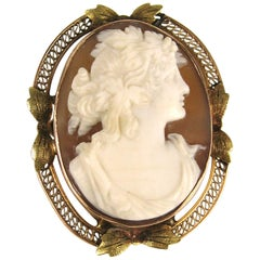 Rose - Green Gold Shell Cameo Brooch Pendant Antique