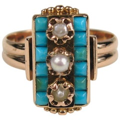 Early Victorian 14 Karat Rose Gold Turquoise Pearl Double Band Ring