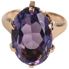 Victorian Rose 14 Karat Gold Large Oval Amethyst Ring