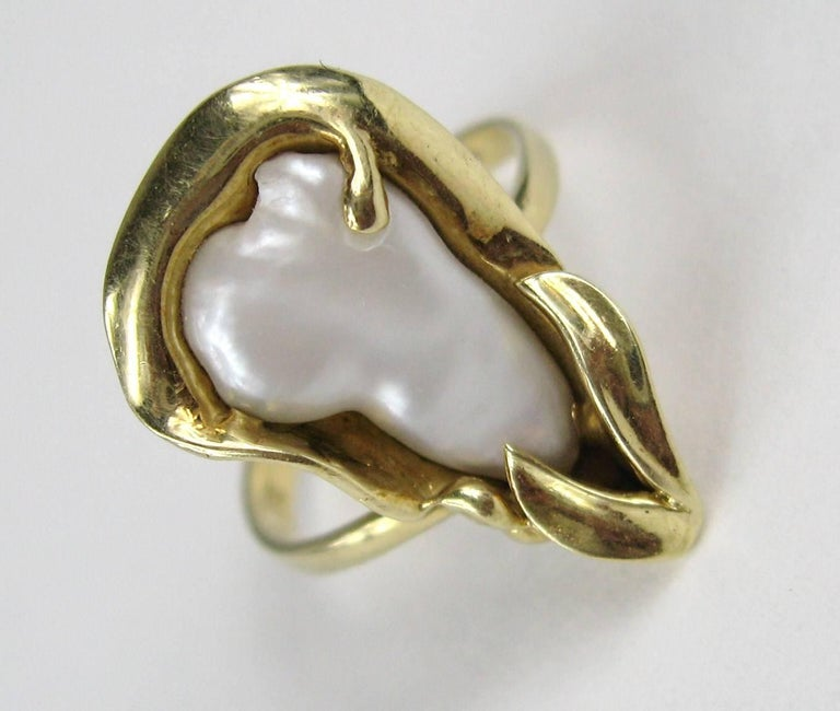 14k Gold handmade Organic Mabe Pearl Ring Measures, .85 in top to bottom, .50 in wide. Ring measures 6.5 and can be sized by your jeweler or us. This is out of our massive collection of Hopi, Zuni, Navajo, Southwestern, sterling silver, costume