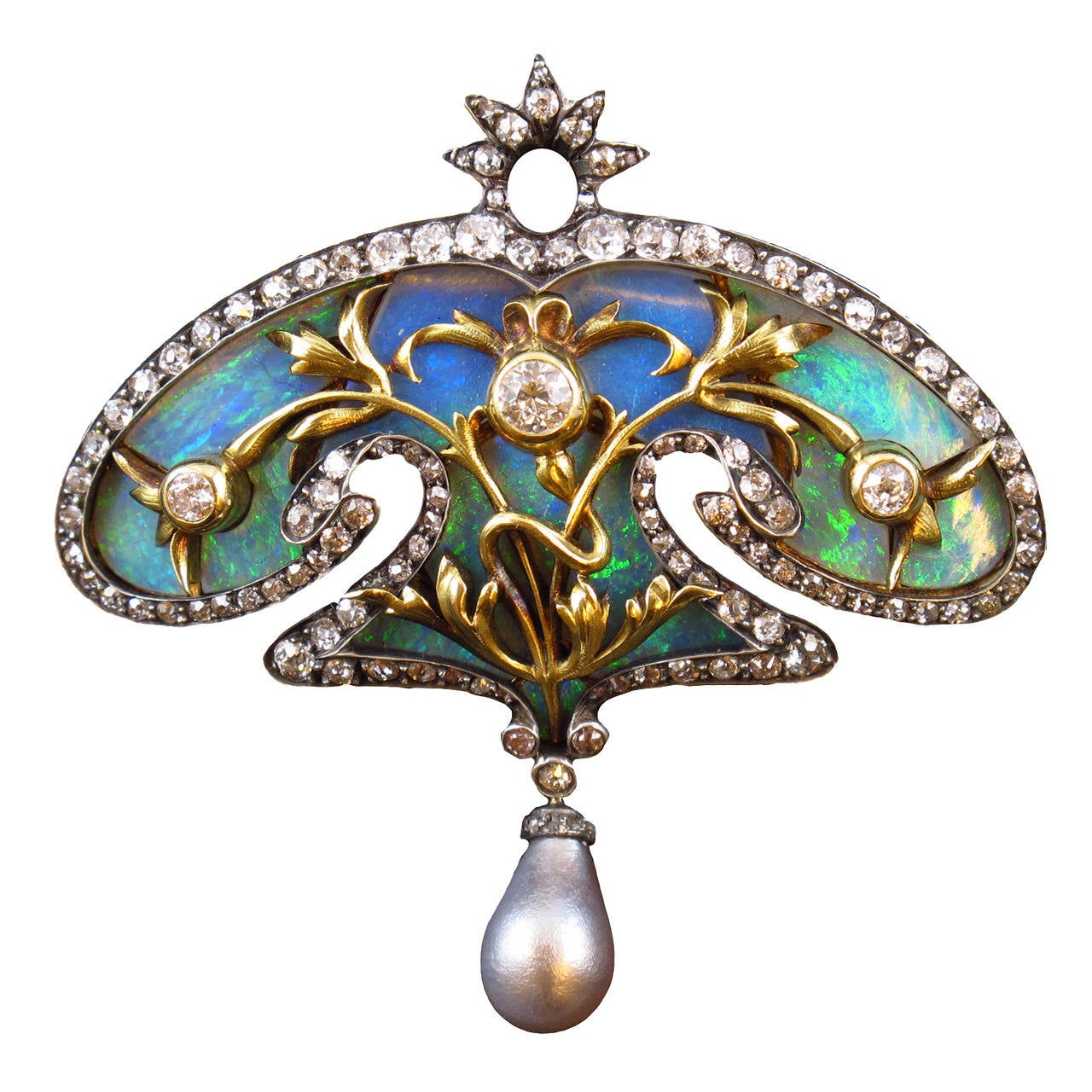 Art Nouveau Pearl Opal Diamond Brooch At 1stdibs