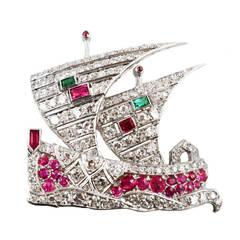 Art Deco Ruby Emerald Diamond Platinum Boat Brooch