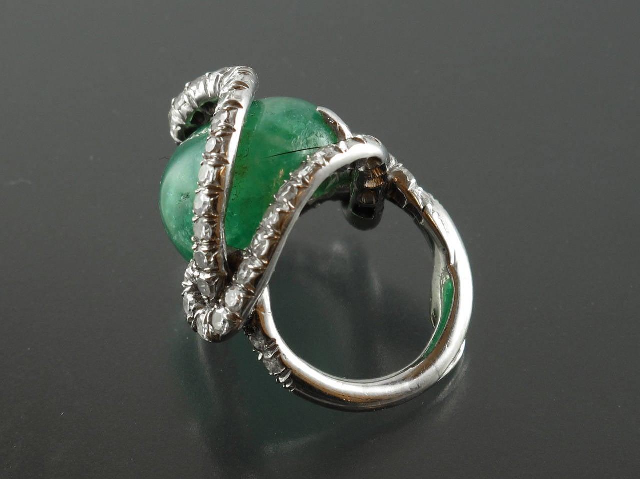 1940s italian emerald platinum snake ring at 1stdibs