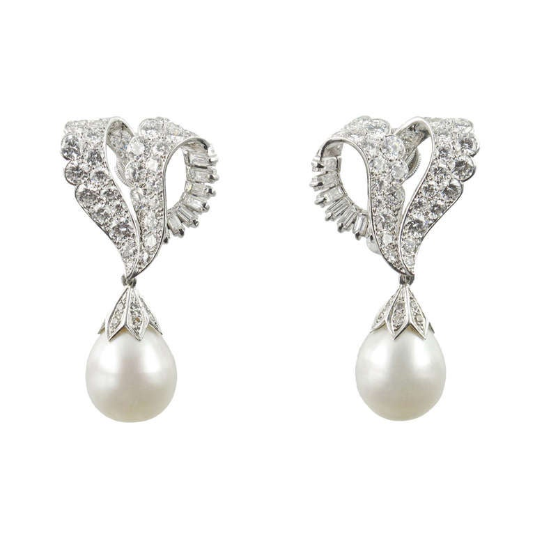 cartier 1950s and pearl earrings at 1stdibs