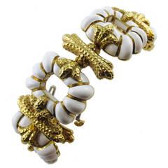 1970s David Webb Enameled Yellow Gold Bracelet