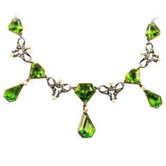 Art Nouveau Peridot Pearl Diamond Silver Gold Drop Necklace