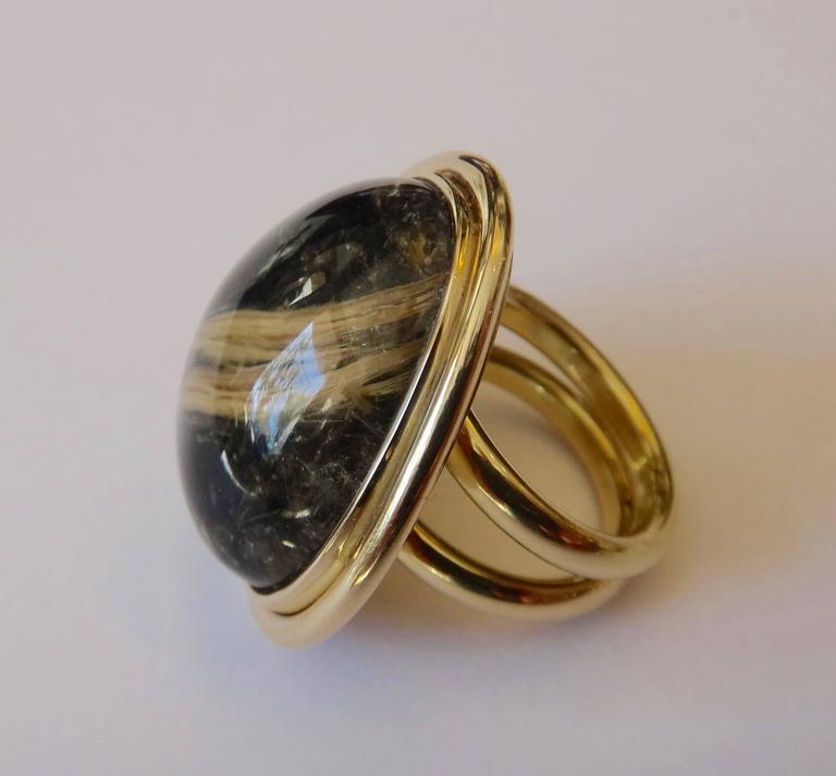 45.80 Carat Rutilated Quartz Gold Ring 2