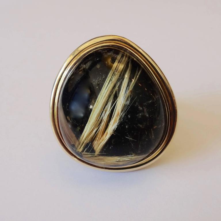 45.80 Carat Rutilated Quartz Gold Ring 3